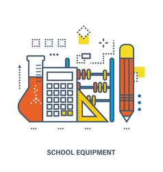 Concept of school equipment and education vector