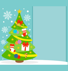 new year background card with fir tree vector image vector image
