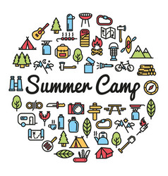 Summer camp word with icons vector