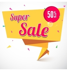 Super sale origami banner vector image vector image