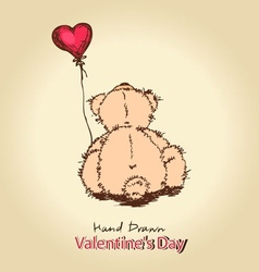 teddy bear with red heart balloon vector image