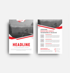 template of a white flyer with red and gray vector image vector image