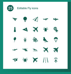 25 fly icons vector