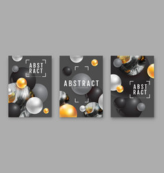 3d abstract black spheres with ink art vector image