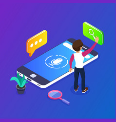 3d isometric voice search concept search for vector image