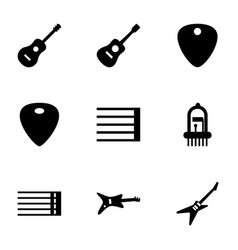 9 guitar icons vector image
