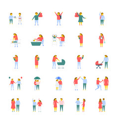 a pack of people flat icons vector image