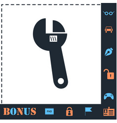 Adjustable wrench icon flat vector