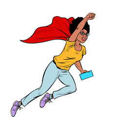 african superhero flying active strong woman vector image