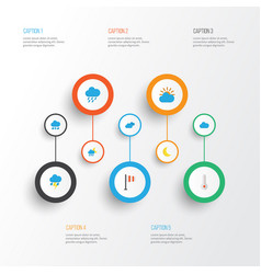 Air flat icons set collection of drizzles vector