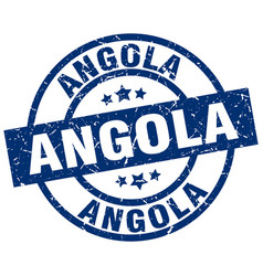 Angola blue round grunge stamp vector