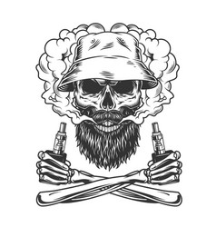 bearded and mustached skull wearing panama hat vector image