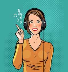 Beautiful girl in headphones listening to music vector