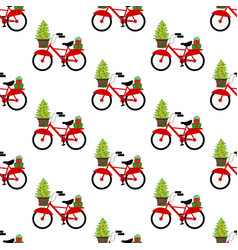 bicycle with christmas tree seamless pattern vector image