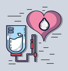 Blood donation transfusion with special equipment vector
