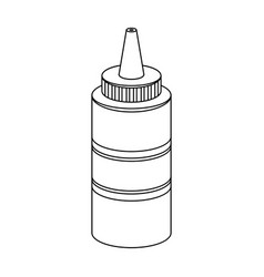 bottle with mustardburgers and ingredients single vector image