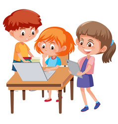 Boy and girl learning vector