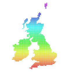 bright dotted great britain and ireland map vector image