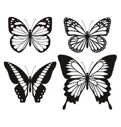 Butterfly silhouette icons set vector