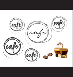 Cafe round logo collection vector