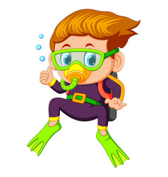 Cartoon boy diving vector