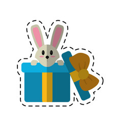 Cartoon cute rabbit hiding gift box surprise vector