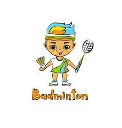 Cartoon Girl Badminton player vector