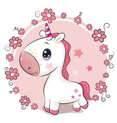 cartoon unicorn on a flowers background vector image