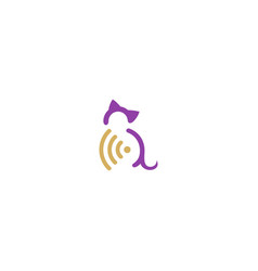 cat pet signal secure logo vector image