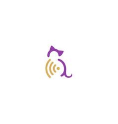 Cat pet signal secure logo vector