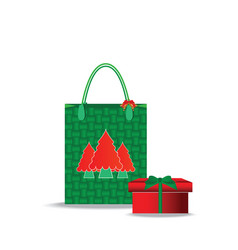 Christmas shopping bag with gifts isolated on vector