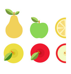 colorful fruits and their pieces icon flat vector image