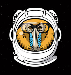 cool mandrel monkey on astronaut helmet print for vector image
