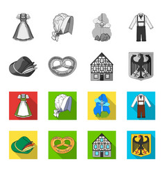 Country germany monochromeflat icons in set vector