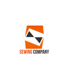 creative sign for sewing company vector image