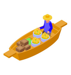 Culture floating market icon isometric style vector