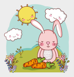 cute animals rabbit with carrots in cartoon vector image