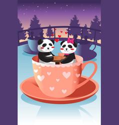 cute panda in love vector image