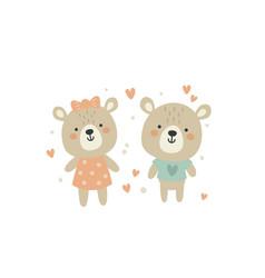cute teddy bear couple vector image