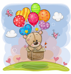 Cute teddy bear in the box is flying on balloons vector
