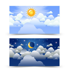 Day and night cards vector
