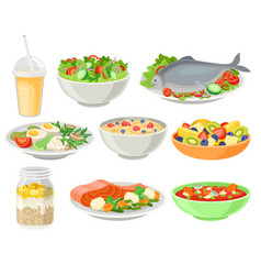delicious and fresh dishes set healthy eating vector image