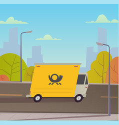 delivery truck with city landscape vector image