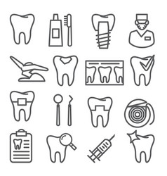 dental line icons set on white background vector image