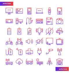 Device and technology gradient icons set vector