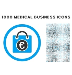 Euro Shopping Bag Icon with 1000 Medical Business vector