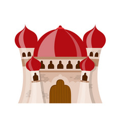 Fairy medieval castle in cartoon style on white vector