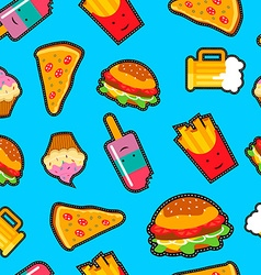 Fast food background with cute cartoon elements vector