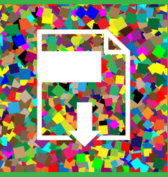 file download sign white icon on colorful vector image