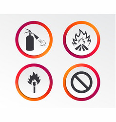 fire flame icons prohibition stop symbol vector image